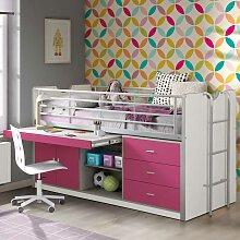 Mädchenbett mit Stauraum Schreibtisch