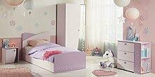 Mädchenzimmer Cristin 1 Rosa Lila Bett 90x200 Schubkasten Nachttisch Kleiderschrank Kommode Jugendzimmer Kinderzimmer