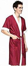 Männer Bademantel Baumwolle Pyjamas Nachthemd Badetücher Sauna Nimm ein Bad Badezimmer Hotel Vier Jahreszeiten Zuhause Kleidung , red , L