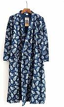 Männer Bademantel Pyjamas Nachthemd Baumwolle Badetücher Sauna Nimm ein Bad Badezimmer Hotel Vier Jahreszeiten Zuhause , Blue 1 , M