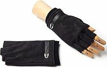 Männer FrauenWinter Warme Handschuhe Wolle Halbfinger Fingerlose Handschuhe ( Farbe : Schwarz )