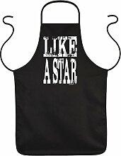 Männer Fun Grillschürze Kochschürze - LIKE A STAR zum Vatertag Geburtstag Dankeschön Vater BBQ Accessoires Kochen grillen - Schürze Latzschürze in schwarz : )