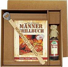 Männer Grill Profi Set's Männer Grillbuch Männergrillbuch (Männer Grillbuch im Geschenke Set mit Grill Champion Grillzange und Worchester Sauce 25020)