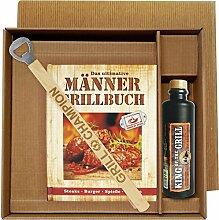 Männer Grill Profi Set's Männer Grillbuch Männergrillbuch (Männer Grillbuch im Geschenke Set mit grill Champion Grillzange und Kräuterlikör 25018)