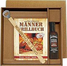 Männer Grill Profi Set's Männer Grillbuch Männergrillbuch (Männer Grillbuch im Geschenke Set mit grill Champion Grillzange und Jack Daniel's BBQ Sauce 25019)