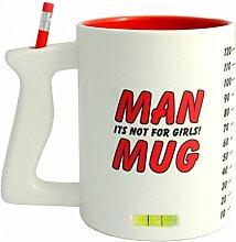 Männer Kaffeebecher mit Wasserwaage, Lineal und Stiftehalter - Man Kaffeetasse Werkzeug Becher Kaffee Tasse mit Wasserwaage, Lineal und Stiftehalter - XXL