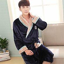 Männer Männer Flanell bademantel Nachthemd und verdickte Clubman größe Coral Fleece bademantel Schlafanzug Heimtextilien Anzug, 175 (XL), Blau Grau Kragen