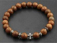 Männer Natürliche Holzperlen Kreuz Armbänder
