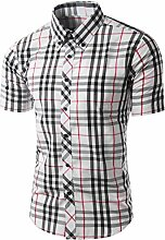 Männer stilvolle Kurzarm Plaid Bluse Freizeithemd