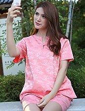 Männer und Frauen Baumwolle Druck Kurzarm Superabsorbent Das Hotel hat Bademäntel Schweißdampf Service Sauna Kleidung Schnell trocknend Handtücher Badetuch Pyjama Bademantel ( farbe : B , größe : M )