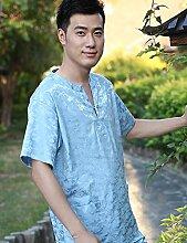 Männer und Frauen Baumwolle Druck Kurzarm Superabsorbent Das Hotel hat Bademäntel Schweißdampf Service Sauna Kleidung Schnell trocknend Handtücher Badetuch Pyjama Bademantel ( farbe : D , größe : S )