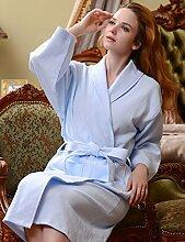 Männer und Frauen Baumwolle fest Farbe Schweiß Dämpfen Kleidung Sauna Kleidung Hotel Bademantel Schnell trocknend Handtücher Badetuch Nachthemd Bademäntel Pyjama Bademantel ( farbe : G , größe : XXL )