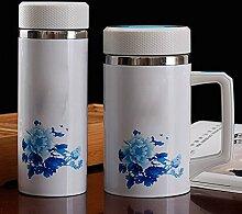 Männer und Frauen Doppel Edelstahl Keramik Becher Geschenk Tassen,280ml