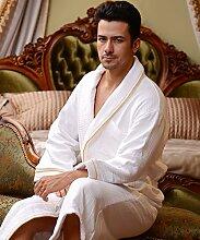 Männer und Frauen Normallack Baumwolle Long Sleeves Superabsorbent Bademäntel Schweißdampf Service Sauna Kleidung Schnell trocknend Handtücher Badetuch Pyjama Bademantel ( farbe : G , größe : M )