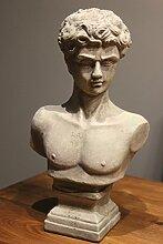 Männerbüste Büste Keramik Skulptur grau Gartenfigur Gartendekoration Deko antik Optik ca. 31cm