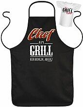 Männergeschenk Grillschürzen Set Chef am Grill Grillparty Geschenk für Männer Grillfest Schürze für Männer am Grill Grillen mit Mini Shir