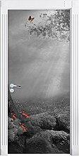 Märchenwald mit Schmetterling schwarz/weiß als Türtapete, Format: 200x90cm, Türbild, Türaufkleber, Tür Deko, Türsticker