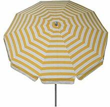 Maffei Art 92 runder Sonnenschirm D. cm 200, Stoff Dralon, Edelstahlgestell mm 27/30 mit Knicker. Made in Italy. Dessin Streifen Gelb/Weiss