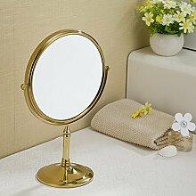 MAFYU Alle Kupfer Schönheit Spiegel Desktop Kosmetik Spiegel vertikal drehbaren sitzen beidseitig (gewöhnliche Spiegel/3 Mal MA Gnifying Glas)