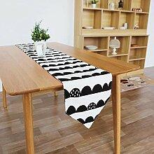 MAFYU Tischläufer,Gesamte Baumwolle schwarz/weiß