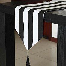 MAFYU Tischläufer,Schwarz und weiß gestreiften