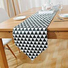 MAFYU Tischläufer,Schwarz/weiß Karomuster