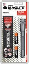 Mag-Lite Mini Maglite 2AA Hochleistungs-LED-Taschenlampe, 77 Lumen, 17 cm titan-grau inkl. 2 Mignon-Batterien und Nylonholster, SP2209H