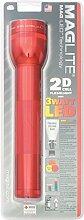 Mag-Lite ST2D036 2 D-Cell Hochleistungs-LED Stab-Taschenlampe, 25 cm rot für 2 Mono Batterien