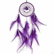Magic Purple Dream Catcher Runde Net mit Federn Hauswand hängen Dekoration
