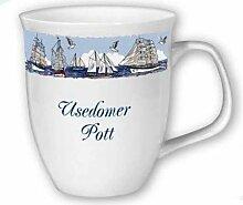 magicaldeco 1X- Porzellan- Große Tasse, Kaffeepott, Becher- Usedom -deutsches Produktdesign