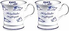 magicaldeco 2 Stück- Porzellan- Tasse, Kaffeepott, Becher- Helgoland -deutsches Produktdesign
