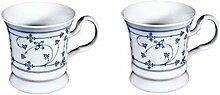 magicaldeco 2 Stück- Porzellan- Tasse, Kaffeepott, Becher- indisch blau -deutsches Produktdesign