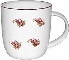magicaldeco 2er Set- Porzellan- Tasse, Kaffeepott, Becher mit Goldrand- Motiv Vergißmeinnicht- ro