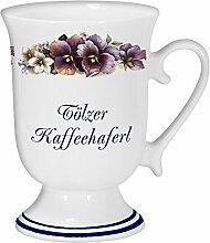 magicaldeco 2er Set- Porzellan - Tasse, Kaffeepott, Kakao Becher- Tölzer Haferl- Motiv Blumenranke
