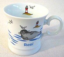 magicaldeco Namenstasse *ROSI*- Porzellan- Tasse, Kaffeepott, Becher - Seehund Leuchtturm