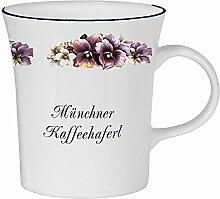 magicaldeco Porzellan konisch- Tasse, Kaffeepott, Becher - München- Motiv Stiefmütterchen
