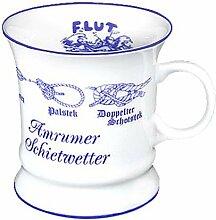 magicaldeco Porzellan- Tasse, Kaffeepott, Becher- Amrum Schietwetter-Knotenmotive -deutsches Produktdesign