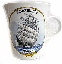 magicaldeco Porzellan- Tasse, Kaffeepott, Becher- Travemünde, Passat - deutsches Produktdesign