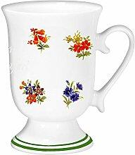 magicaldeco Porzellan - Tasse, Kaffeepott, Kakao Becher mit Farbrand- Motiv Blumen