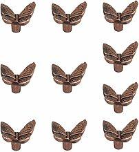 MagiDeal 10 Stk. Vintage Möbelknöpfe Schrankknöpfe -Schmetterling - Kupfer