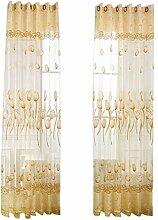 MagiDeal 100% Polyester Bestickt Ösenvorhang Tüll Vorhänge Voile Schiere Fenster Wohnzimmer Dekor , Blumen Design - Gelb, 100 * 250cm
