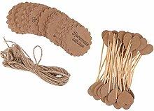 Magideal 100pcs Geschenk-Etiketten von Kraft-Weinlese + 50pcs Topper Kuchen Form Herzen Papier Cupcake Dekoration