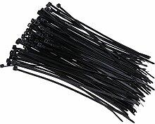 MagiDeal 100x Kabelbinder aus Nylon 200 mm Länge selbstsichernde Schnalle löst sich nicht Elektroinstallation Zubehör - Schwarz