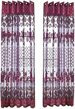 MagiDeal 100x250cm Romantische Blumen Voile Vorhang Tüll Ösenschal Wohnzimmer Kinderzimmer Haus Fenster Balkon Dekoration - Dunkel Lila, Mit Perlen