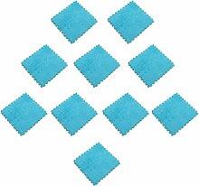 MagiDeal 10pcs 30 x 30cm EVA Schaumstoff Plüschmatte Puzzlematte Kindermatte Bodenmatten Turnmatte - Blau