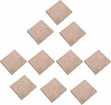 MagiDeal 10pcs 30 x 30cm EVA Schaumstoff Plüschmatte Puzzlematte Kindermatte Bodenmatten Turnmatte - Beige