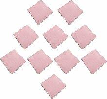 MagiDeal 10pcs 30 x 30cm EVA Schaumstoff Plüschmatte Puzzlematte Kindermatte Bodenmatten Turnmatte - Rosa