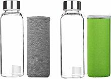 MagiDeal 2 x Glas Wasserflasche mit Silikonhülle