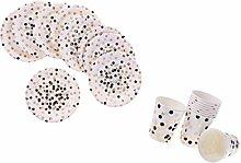 MagiDeal 20/30x Punkte Papier Party Set Teller +