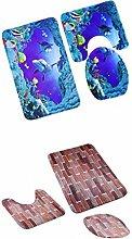 MagiDeal 2Sets x 3pcs Badematten Set Badezimmer Non-Slip Sockel Teppich + Deckel WC-Abdeckung + Badematte - Mehrfarbig, One Size
